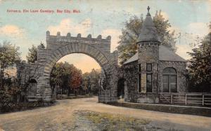 Bay City Michigan~Elm Lawn Cemetery Stone Arch Entrance~Gate Keep~1910 Postcard