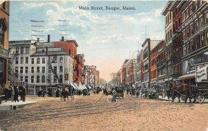 Bangor Maine c1910 Postcard Main Street Streetcar