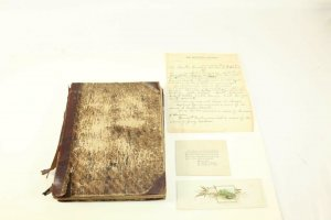 Ca. 1850 - 1910 Text Book Turned into Scrap Book Clippings Inserts