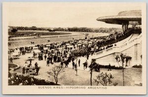 Buenos Aires Argentino~Grandstands Crowd @ Horse Race Track~RPPC c1915 Postcard