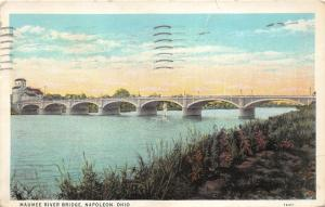 Napoleon Ohio~Maumee River Bridge~Sunset in Distance~1936 Shaff's Drug Store Pc