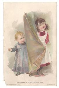 1894 Victorian Trade Card Lion Coffee Woolson Spice Co Premium Offer Children
