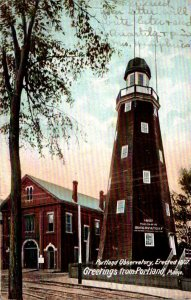 Maine Portland Greetings Showing The Observatory 1921
