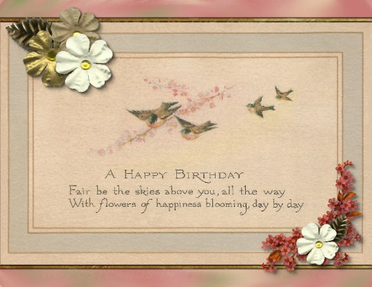 Birthday Postcard Single Postcard, Handmade Birthday Card Swallows and a Branch