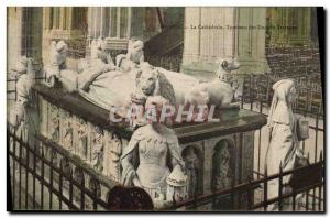 Old Postcard Nantes Cathedral Tomb of the Dukes of Brittany Lion