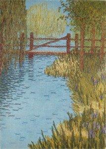 art paintinga fishing place bridge river  Postcard