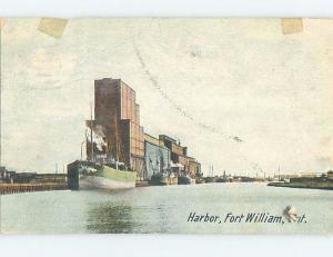 Divided-Back SHIP BOATS DOCKED IN HARBOR Fort William - Thunder Bay ON F4606