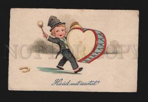 074621 Young MUSICIAN Kid w/ DRUM as HEART vintage Color PC