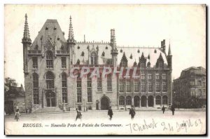 Belgie Belgium Bruges Old Postcard New post and the governor's palace