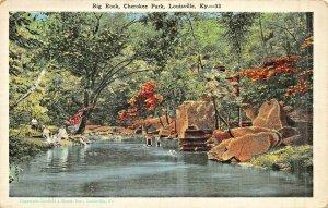 LOUISVILLE KENTUCKY~CHEROKEE PARK-BIG ROCK~CAUFIELD & SHOOK 1920s POSTCARD