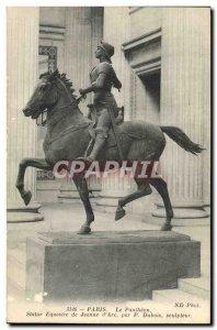 Old Postcard Paris Pantheon Equestrian Statue Of Jeanne d & # 39Arc By Dubois