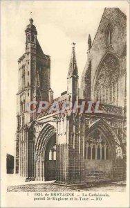 Old Postcard Dol de Bretagne La Cathedrale St Magloire Portal and the Tower