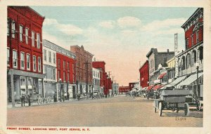 PORT JERVIS NY FRONT STREET LOOKING WEST-STOREFRONTS~HORSE WAGONS-1917 POSTCARD