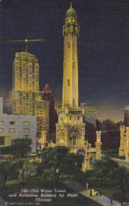 Old Water Tower and Palmolive Building At Night Chicago Illinois Curteich