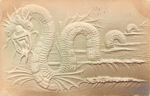 Fantasy~Sea Serpent Dragon in Waves~Forked Tongue~Wings~1907 Emboss~Airbrushed