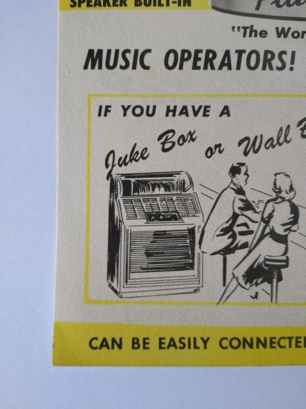 Chicago Coin Band Box Jukebox FLYER 1952 Original Animated Manikin Musicians NOS