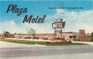 Demopolis Alabama~Plaza Motel~Front View~Cars~1957 Linen Postcard