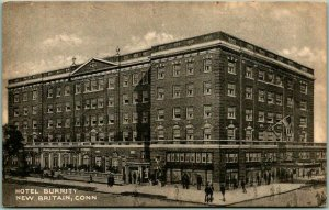 New Britain, Connecticut Postcard HOTEL BURRITT Street View Collotype c1940s