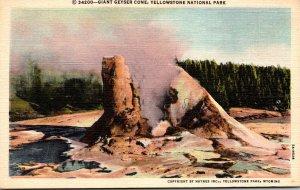 Yellowstone National Park Giant Geyser Cone Curteich