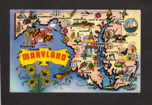 MD Greetings From Maryland State Map Postcard La Plata Easton Crisfield