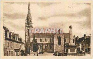 Old Postcard Landivisiau Finistere The Church Square