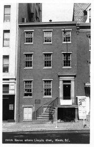 1950s House Where Abraham Lincoln Died Washington DC RPPC Real Photo Postcard