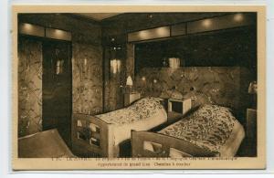 Ocean Liner Ile de France Bedroom Interior Ship postcard