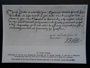 Historical Document SIR WALTER RALEIGH 1613 Wiltshire Ex Serviceman Pension RPPC