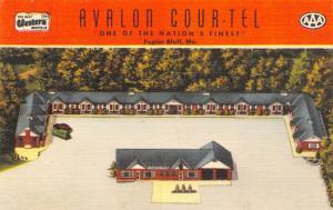 Poplar Bluff Missouri~Avalon Cour-Tel~Birdseye Roadside Motel~1940s Linen PC