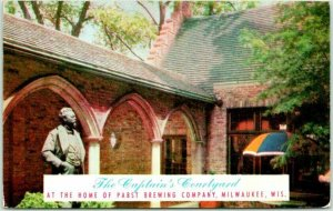 Milwaukee WI Postcard PABST BREWERY The Captain's Courtyard Beer Tasting 1960s