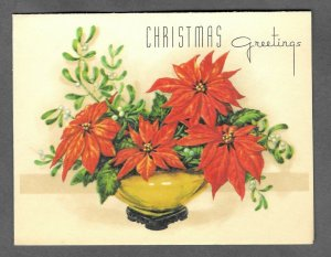 VINTAGE 1940s WWII ERA Christmas Greeting Holiday Card POINSETTIAS Rust Craft