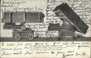 Quarry Dump Car Barnes Mfg Co Lanesboro PA Mining Equipment Adv Postcard