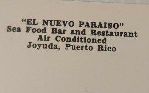 Vintage Postcard El Nuevo Paraiso Joyuda Puerto Rico ocean old car autos  725