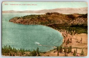 Lake Tahoe California Glenbrook Bay Birds Eye View Steam Ship Pier Post Card P5