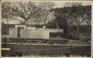 Boy & Toy Model RR Train Real Photo Postcard