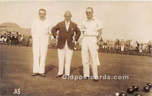 Old Vintage Lawn Bowling Postcard Post Card Men Bowling Real photo Unused