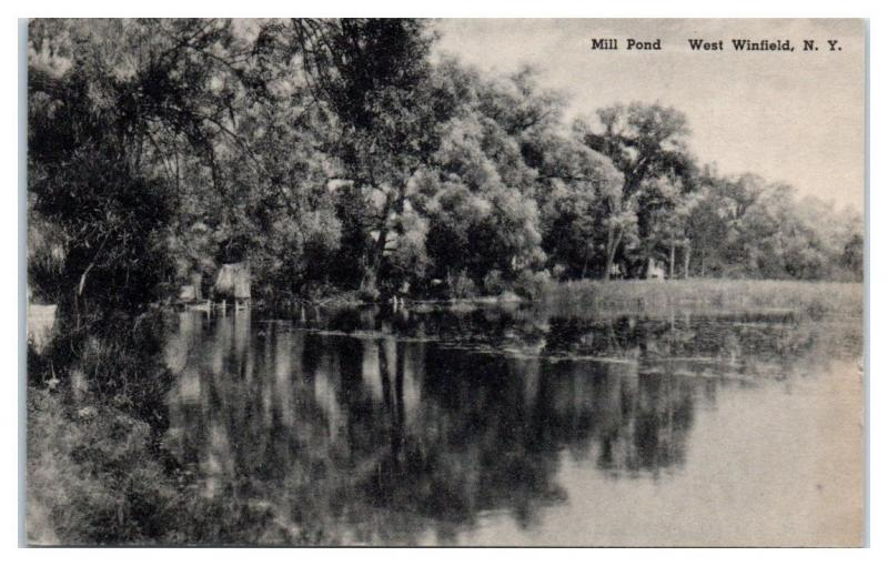 1940s Mill Pond, West Winfield, NY Postcard