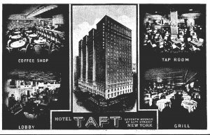 New York City Hotel Taft Coffee Shop Tap Room Lobby and Grill