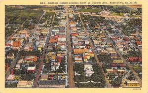 Bakersfield CA~Birdseye Panorama Business District~Chester Ave~1943 Linen PC