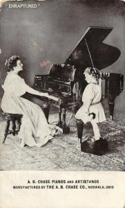 Norwalk OH~Lass Adores Big Sister Playing A B Chase Gran Piano Advertising c1910