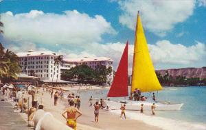 Hawaii Honolulu Catamaran At Waikiki Beach