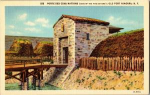 Porte Des Cinq Nations Old Fort Niagara NY Vintage Postcard Q15