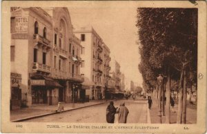 CPA AK Le Theatre Italien et Avenue Jules Ferry TUNIS TUNISIA (712620)