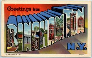 BINGHAMTON, New York Large Letter Postcard Colorful Curteich Linen c1940s Unused