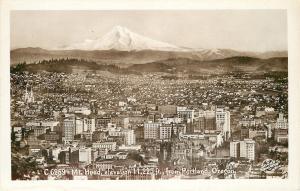 Portland Oregon Panorama: Firestone~Hotel Carlton~Day Night Schoo1~1920s RPPC