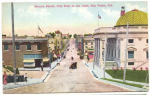 San Pedro CA Beacon Street Street View Old Car City Hall Postcard