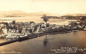 Birdseye View City of Newport VT Railroad Tracks Lake Memphremagog RPPC