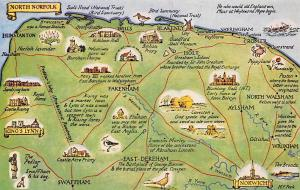 England North Norfolk Map, King's Lynn, Norwich, Fakenham