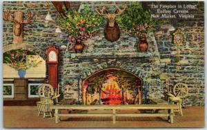 New Market, Virginia Postcard ENDLESS CAVERNS Fireplace in Lodge Linen c1940s