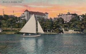 Sail Boat, Sunset on WESTLAKE PARK, California , 1900-10s